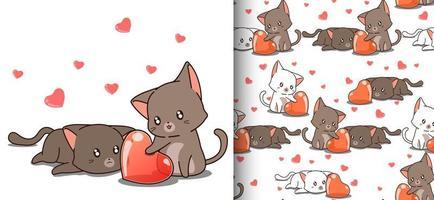 gatos kawaii de padrão uniforme olhando para o coração vetor