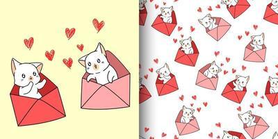 desenho de gatos kawaii sem costura dentro de cartas de amor