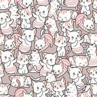 gatos adoráveis de padrão sem emenda em estilo cartoon
