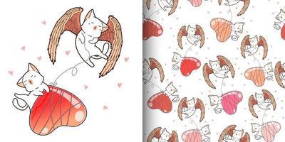 gatos cupido kawaii padrão sem emenda com balão de coração vetor