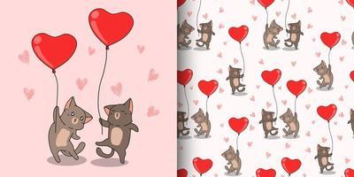 personagens de gatos kawaii carregando padrão de balões de coração vermelho