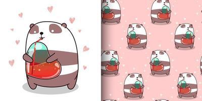 padrão sem emenda panda kawaii bebendo água do coração vetor
