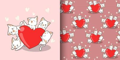 personagens de gatos kawaii de padrão sem emenda abraçando um grande coração