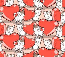 gatos kawaii de padrão sem emenda e corações de gelatina vetor