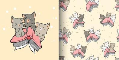 padrão sem emenda desenhado à mão gatos kawaii e livro de texto vetor