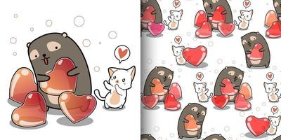 padrão sem emenda gato kawaii quer coração de urso fofo vetor