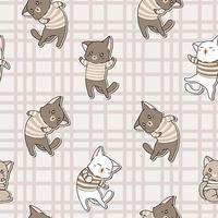 personagens de gatos kawaii de padrão sem emenda vestindo camiseta vetor