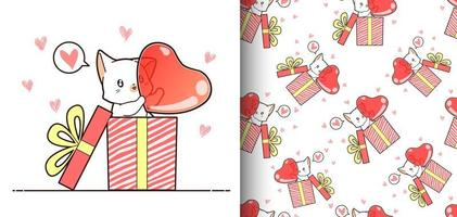 gato kawaii de padrão sem emenda dentro de caixa carregando um grande coração vetor