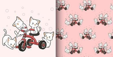 padrão sem emenda gatos kawaii desenhados à mão andando de triciclo