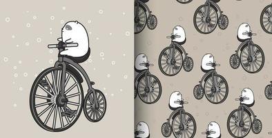 urso branco padrão sem costura andando de bicicleta vintage vetor