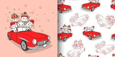 gatos adoráveis de padrão sem emenda dentro de carro vermelho vetor