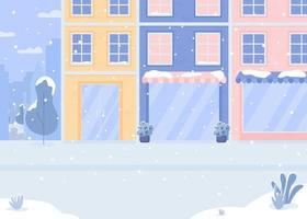 rua coberta de neve vetor