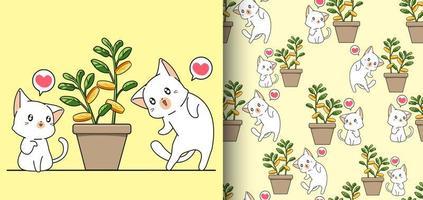 gatos kawaii de padrão sem emenda e árvore do dinheiro em um vaso