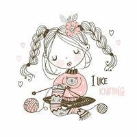 a menina está envolvida em bordado, tricotando um lenço vetor