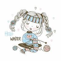 linda garota se preparando para o inverno tricotando um lenço vetor