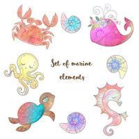 conjunto de animais marinhos fofos vetor
