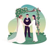 casal lésbico se casando vetor