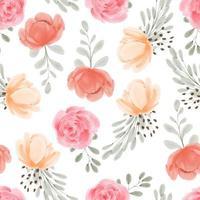 aquarela sem costura padrão floral pintado à mão com flor de peônia rosa vetor