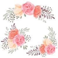 Conjunto de buquê pintado à mão em aquarela de arranjo de flores rosa vetor
