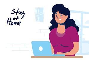 campanha de home office com mulher no laptop