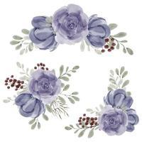 coleção de decoração de arranjo floral de peônia rosa aquarela pintada à mão vetor