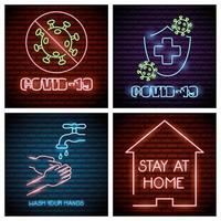 ícones de luz neon de coronavírus