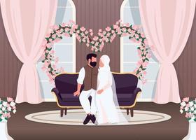 recém-casados islâmicos no sofá vetor