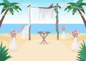 cenário para casamento na praia vetor