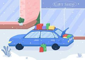 automóvel com presentes comprados