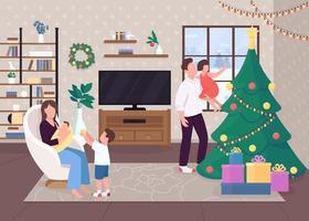 manhã de natal com a família vetor