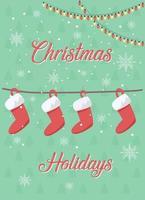cartão de Natal com meias vetor