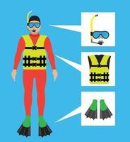 máscara de mergulho e ícone de snorkel vetor
