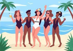 festa de despedida de solteira na praia vetor