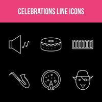 conjunto exclusivo de aplicativos de linha de celebração vetor