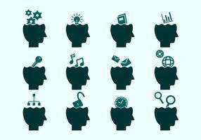 Coleções de ícones de mente aberta vetor