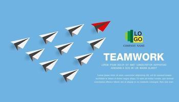 avião de papel como líder entre outros, liderança, trabalho em equipe vetor