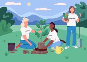ecofeminismo plantando árvore vetor