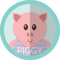 Porquinho fofo desenho animado ícone plana avatar redondo
