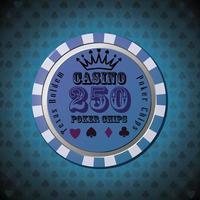 ficha de pôquer 250 em fundo azul vetor