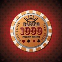 ficha de pôquer 1000 em fundo vermelho vetor
