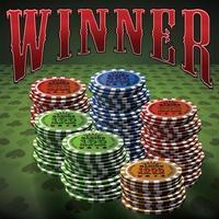 Pocker chip muitos vencedor do texto de fundo verde