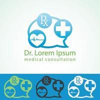 modelo de design de logotipo de farmácia médica. vetor