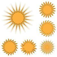 ícones de sol diferentes isolados vetor