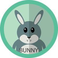 avatar de ícone plano de desenho animado de coelho cinza fofo vetor