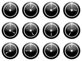 símbolo do relógio definido como branco sobre preto isolado