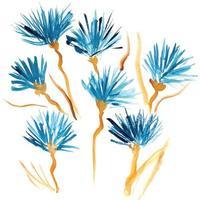 flores em aquarela azuis pintadas à mão isoladas vetor