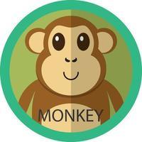 avatar de ícone plano de macaco marrom fofo