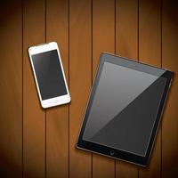 Maquete de celular e tablet em fundo de madeira