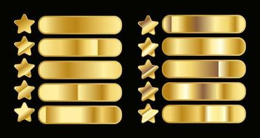 conjunto de gradientes de ouro amarelo e estrelas douradas vetor