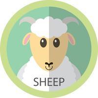 avatar ícone plano de ovelha branca fofa vetor